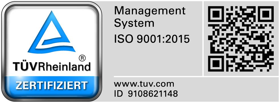 TÜV Prüfsiegel ISO 9001:2015